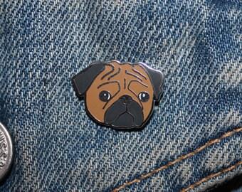 Sad Pug Enamel Pin Badge - Hard Enamel Nickel Free Metal Brooch - Dog Doggo Pupper Cute Meme Funny