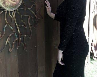 Vintage 1970's Black Knit Dress, Vintage Pauli-Montreal Dress, Vintage Knit Dress, Mod