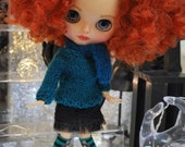 Habilisdolls for Blythe, Pullip dolls outfit clothes fashion ensemble set, knitwear, hand knitted sweater, skirt, socks