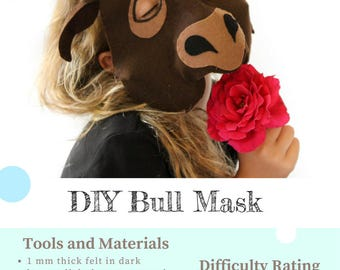 Bull Mask PATTERN. Kids Animal Mask Sewing Pattern. DIY Party Mask.