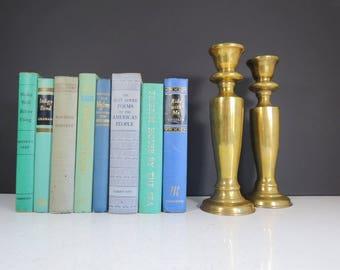 Tall Modern Candlesticks // Vintage Tall Heavy Candlesticks Pair Sleek Shape Design Hollywood Regency Mid Century Home Decor Gift Idea