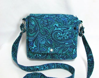Small messenger- Blue, green paisley corduroy