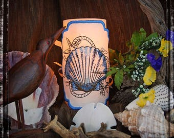OOAK Seashell Embroidered Candle Wrap for LED Flameless Candles. Stitched on Linen.