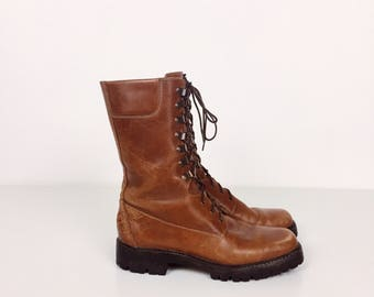 Vintage Joan and David COUTURE Brown Leather Lace Up Combat Hiking Equestrian Riding Boots // Women's size 5 5.5