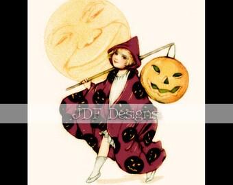 Instant Digital Download, Vintage Antique Graphic, Halloween Girl, Jack-O-Lantern, Moon, Pumpkin Costume, Printable Image Scrapbook, Witch