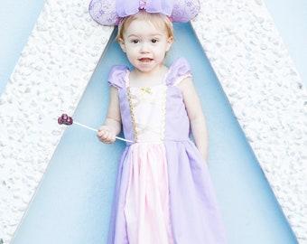 Rapunzel Minnie Ears / Rapunzel Princess Ears / Rapunzel Ears / Rapunzel Mouse Ears / Tangled Rapunzel / Kids Headband / Pink and Lavender