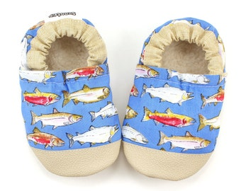 baby fish shoes fishing baby shoes soft sole shoes fish booties blue and brown baby boy shoes toddler shoes fish slippers baby crib shoes