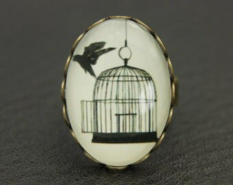 Bird ring, bird jewelry, liberty ring, floral ring, love ring, cage ring, vintage ring, st valentine, Adjustable ring, gift for her, 1825B