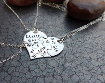 Jewelry For Sisters 3 Piece Heart Necklace Hand Stamped Necklace Big Sis Middle Sis Little Sis Family Jewelry