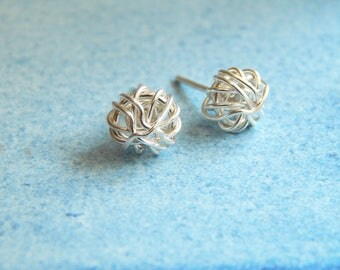 Silver Stud Earrings - Sterling Silver Love Knot Earrings - Silver Earrings, Women Gift, Gift For Her, Minimalist Jewelry, Bridesmaids Gifts