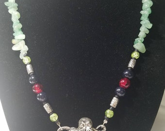 Green Jade and Silver Octopus Necklace