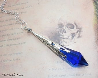 Deep Blue Divination Wand, Prism Necklace, Dowsing Tool, Blue Necklace, Pendulum Necklace, Witches Tool, Divination Prism, Wiccan, Pagan