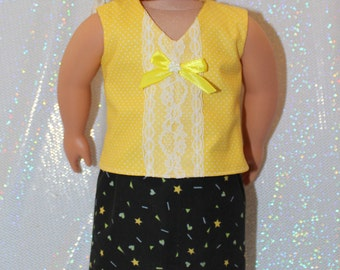 """18"""" doll clothes handmade to Fit like American Girl, Yellow Blouse with Lace Skirt and Black Slipper Sandals Free Shipping"""