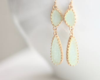 Aqua Seafoam Blue Green Gold Filigree Double Dangle Earrings Bridesmaids Jewelry Jewelry For Her