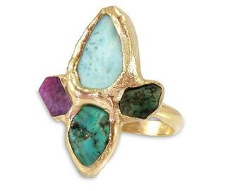 Unique Raw Gemstone Ring, Raw Ruby, Emerald, Larimar, Turquoise, Raw Stone Ring, Birthstone Jewelry, Gold Gemstone Ring, Raw Crystal Ring.