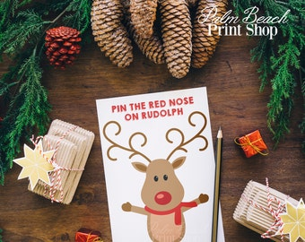 Pin the Nose on Rudolph the Red Nose Reindeer Printable Childrens Game - Christmas Printable Game - Holiday Fun for Kids - Instant Download