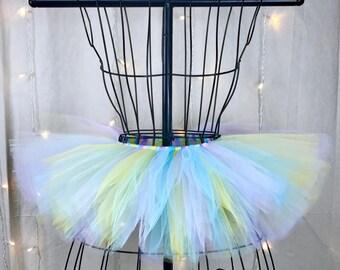 Iris Tutu - Multicolor -Pastel Rainbow Tutu - Rave - Birthday Tutu - Available in Infant, Toddlers, Girls, Teenager, Adult and Plus Sizes