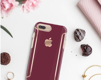 Burgundy iPhone Case and Rose Gold Detailing - Otterbox Symmetry iPhone 6 / iPhone 7 / iPhone 8 / iPhone X - Platinum Edition