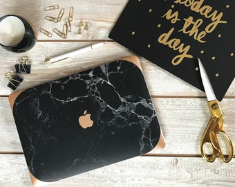 Black Marble Macbook Hard Case and Rose Gold Edging - Apple Macbook Air / Macbook Pro Retina / Macbook Pro Touch - New College Edition