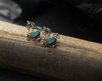 Silver small stud earrings,silver earrings filigree chalcedony,earrings blue stone,romantic classic small earrings,silver filigree earrings