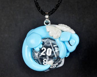 Design your own dice dragon necklace, cute baby dragon pendant, d20 necklace, Dungeons and Dragons, DnD, polymer clay jewelry, gamer gift