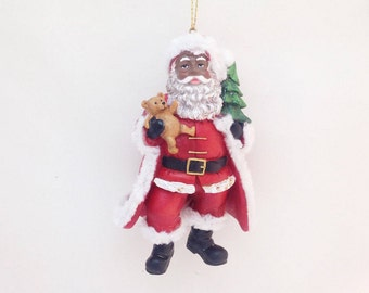 African American Santa with Teddy Bear Personalized Christmas Ornament / Custom Name or Message / Christmas Gift