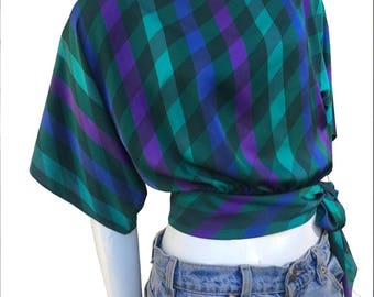 1980's Plaid Blue Green Purple Side Tie Tied Flare Sleeves Blouse Top