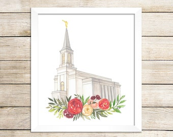 Star Valley, WY LDS Temple Watercolor Painting, LDS Artwork