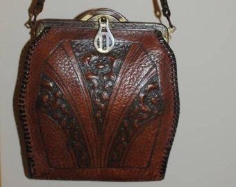 Vintage 1910's Meeker Made Leather Handbag