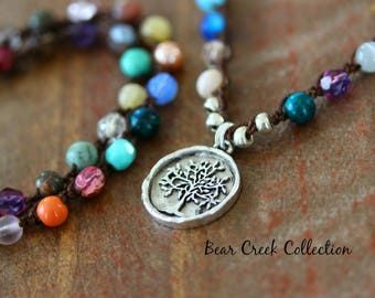 Colorful Crochet Necklace / Tree  /  Multicolor Semi Precious GemStone & Glass Beads Artisan Pewter Pendant Knotted Bohemian Jewelry