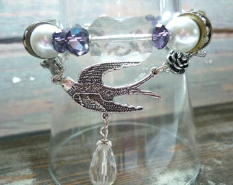 bird bracelet, crystal bracelet, victorian bracelet, downton abbey bracelet, asian bracelet