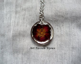 Red rose in resin necklace, burgundy flower in ecological pendant, stainless steel necklace,  rose, hippie botanical jewelry, 15 off ship