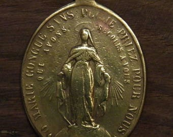 Antique religious bronze miraculous medal pendant  O Mary conceived without sin pray for us