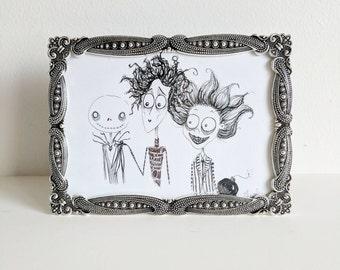 Tim Burton Tribute - Original Ink Drawing - Jack Skellington - Edward Scissorhands - Beetlejuice - 5x7 Framed Art