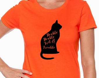 Double Double Toil and Trouble; Black Cat; Halloween Shirt; t-shirt; Halloween Tee