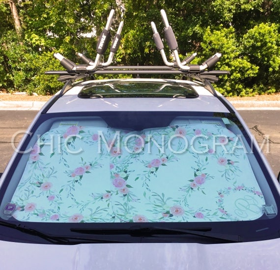 Monogrammed Sunshades White With Wildflowers Custom Car Sun Shade Personalized Windshield Sun Shades For Car Floral Wildflower Accessories