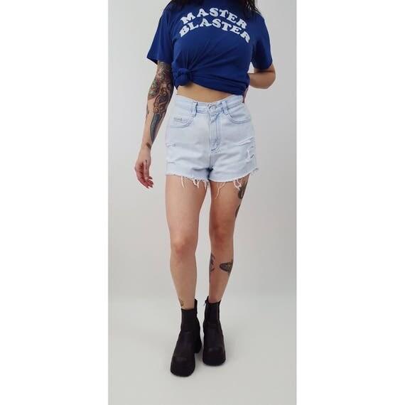 Remade Vintage Cutoff High Waist Denim Shorts - Small 90s Highwaisted Summer Jean Cutoff Short 4 - 1990s Cut Off Light Wash Frayed Shorts