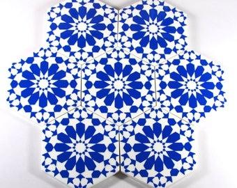 Blue and White Ceramic Tiles - Decorative Tiles - Backsplash Tiles - Kitchen Tiles - Bathroom Tiles- Ceramic Coasters - Hexagonal Tiles