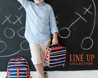 """Monogrammed """"Line Up"""" Back to School Collection - Backpack, Lunch Tote & Pencil Case"""