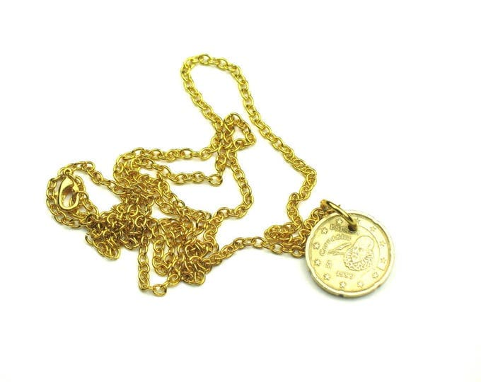 Coin Charm Necklace with Gold Plated Chain / Spanish Coin