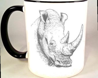 Rhino Coffee Mug, Vintage Safari Animal Illustration, Rhinoceros Coffee Cup, Rhino Mug, Sublimated 11 oz, Colored Handle & Rim, 4 Colors