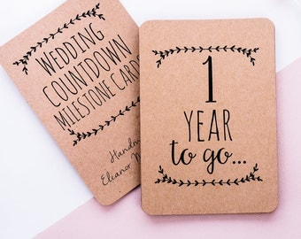 Kraft Wedding Countdown Photo Cards. Neutral Design. Celebrate your wedding milestone moments. Perfect Engagement Gift.