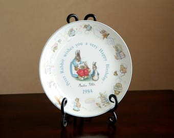Vintage Beatrix Potter Peter Rabbit 1984 Happy Birthday Wedgwood collectible plate - made in England