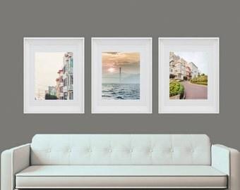 San Francisco, Set of 3, San Francisco Photography, San Francisco print set, Golden Gate Bridge, Lombard Street, Travel Art, Pastel Decor