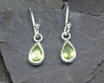 Green Peridot Gemstone Earrings, Sterling Silver Peridot Earrings, Silver Jewellery Gift for Her, August Birthstone Jewelry,