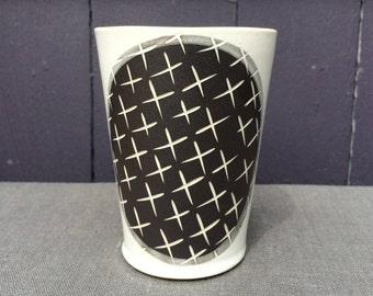 Tall Black and White Stoneware Tumbler: minimal decoration, modern handmade, hand built, slab built.