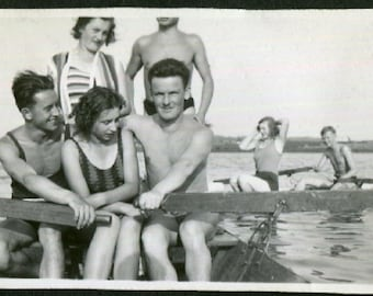 Vintage Photo of Friends Rowing Boat 1930's, Original Found Photo, Vernacular Photography