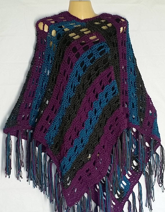 Womens Gray Teal Purple Poncho Sweater Boho Hippie Crochet
