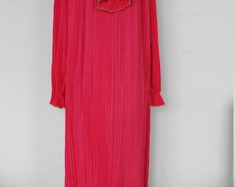 Vintage KEYLOUN Red Maxi Dress with gold trim