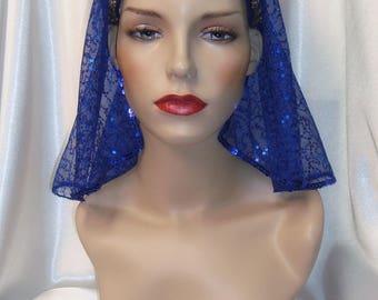 Blue Cleopatra Headpiece, Cleopatra Headdress, Egyptian Inspired Nemes, Sequin Cleopatra Headdress